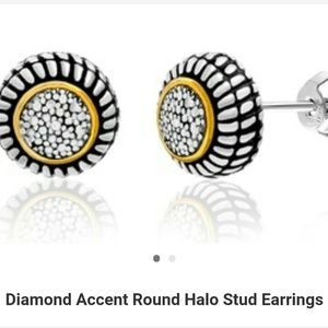 New Diamond Halo Stud Earrings