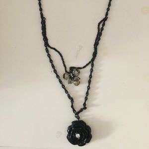 "Betsy Johnson 12 "" black necklace"