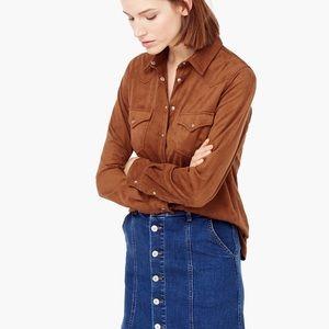 Mango Medium brown suede flap pocket shirt