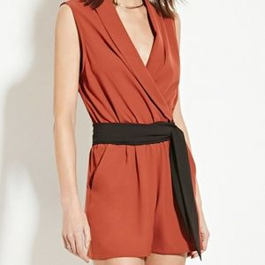 Orange Rust Romper with Black Sash