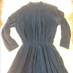 STRETCHY💗MAXI VELVET BLUE LONG SLEEVE DRESS LARGE