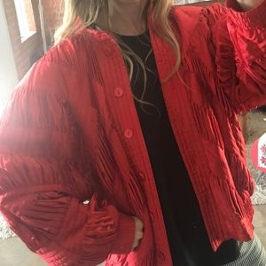 Vintage 80s 90s Silk Bomber Jacket Quilted Pleated