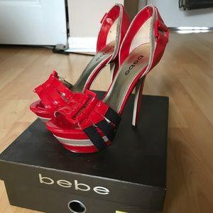 Bebe Belinda red platform heels