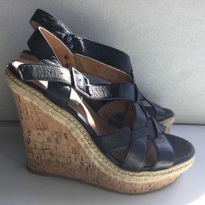 Steve Madden Black Leather Wedges Size 7.5