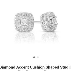 New Diamond Cushion Shaped Stud Earrings