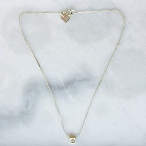 Nine West Minimalist Dainty Square Silver Necklace