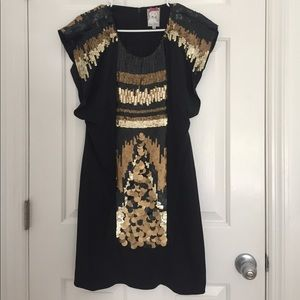 Black silk and gold sequin dress