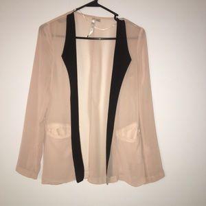 LC Lauren Conrad sheer nude and black blazer 2