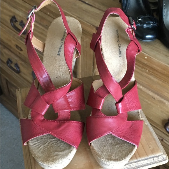 Charming Charlie Shoes - NWOB!  Charming Charlie upper leather, cork wedges