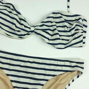 J Crew Sailor striped bikini halter top XL M