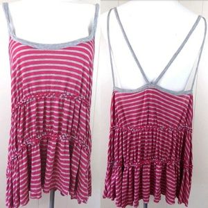 We the Free Strappy Pink Striped Tank