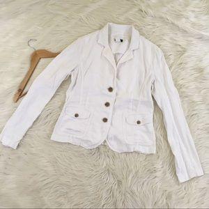 J. Crew Linen White Raw Edge Blazer Jacket