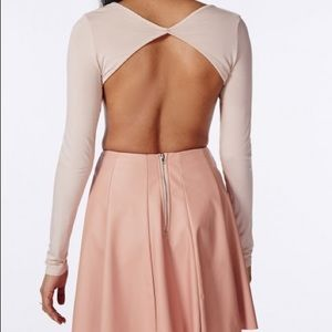 Missguided Taupe long sleeve backless bodysuit