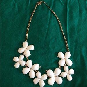 White flowered statement necklace