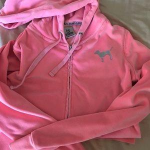 Pink velour zip up