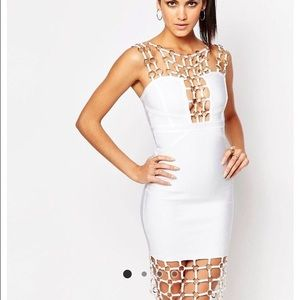 Wow Couture Chain Detail Bandage Midi Dress