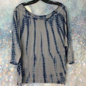 Calvin Klein blue gray tie dye dolman shirt top