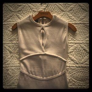 BEBE keyhole midi sweater dress- winter white
