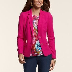 Chicos hot pink knit pique blazer jacket 00/XXS