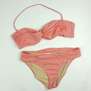 J.Crew Twist bandeau top Bikini size M XL peach