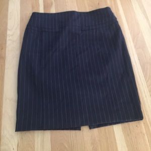 Navy pin stripe pencil skirt ... gold accent