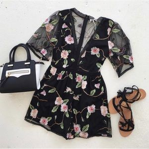 Pants - Black Floral Lace Embroidered Mesh Romper
