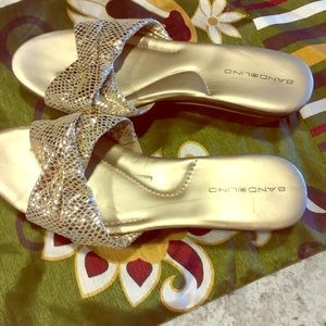 Bandolino Shoes - Bandolino slide soft glittery gold slide sandals