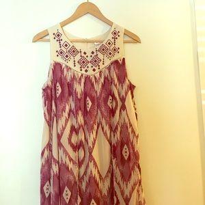Native Print Burgundy Dress