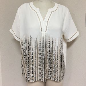 NWT Cato beige with black blouse. Pleated back.