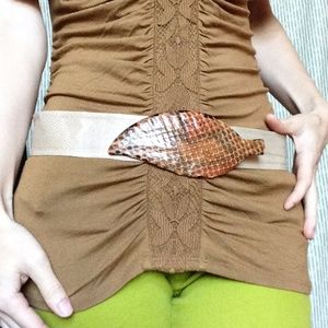 Leather Vintage Autumn Leaf Snakeskin Brown Belt