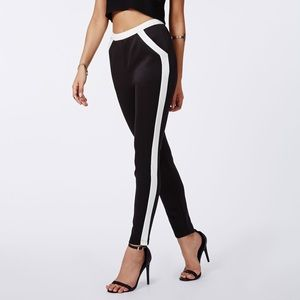 Missguided Olympia scuba contrast trousers black