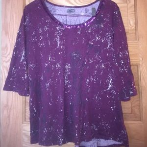 Tops - Plus size purple shirt w/silver accents sequins