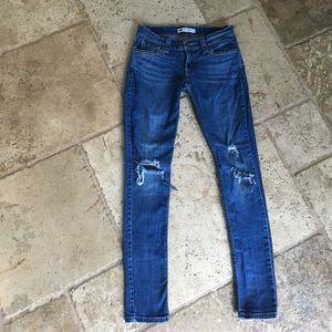 Levi's 524 Too Super Low Denim Destroyed Jeans 27