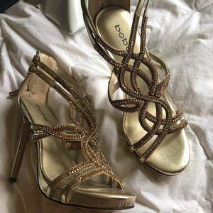 Bebe rhinestone gold heels 7