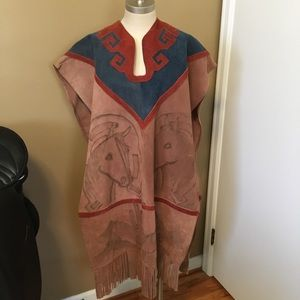 vintage suede leather cape