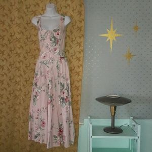 Awesome vintage 80's Corset tie dress w/ roses!