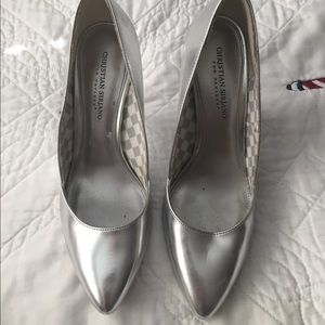 Silver pointed toe heels