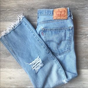 Vintage Levi's 505 Frayed Hem Distressed Jeans