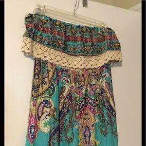 Free People Strapless Long Boho Dress Size Small