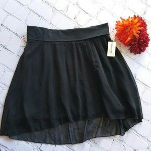 NWT Juniors High Low Black Chiffon Skirt S