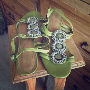 Reba olive green sling back small wedged sandals