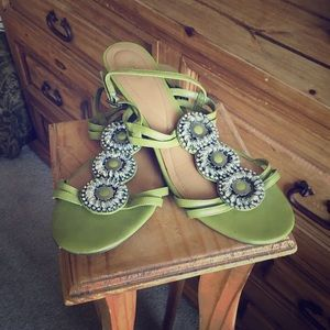Reba Shoes - Reba olive green sling back small wedged sandals