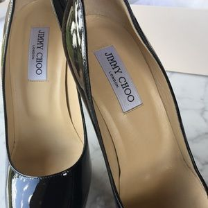 Jimmy Choo Black Patent Leather Cosmic Pumps 39.5