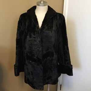 vintage black fur swing coat