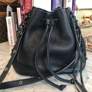 NWOT - Rebecca Minkoff - Black Leather Bucket Bag