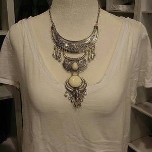 NWT INDIE BOHO SILVER 3 TIER COLLAR CHAIN NECKLACE