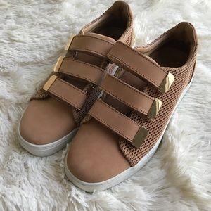 Aldo 3 Strap Gold Tan Sneakers