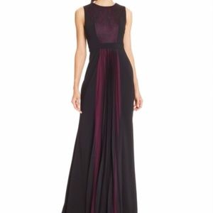 NWT Magenta & Black Contrast Lace Panel Pleat Dres