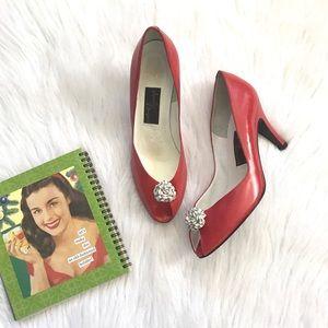 Vintage Red Leather Peep Toe Heels