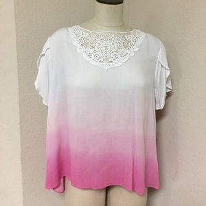 NWT Cato pink white lace low back top